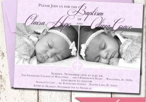 Baptism Invitations for Twins Custom Twins Baby Girls Baptism Invitation by