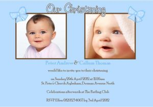 Baptism Invitations for Twins Personalised Boy Twins Christening Invitations