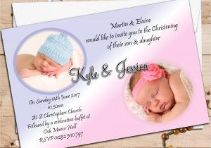 Baptism Invitations for Twins Twin Baptism Invitations Twin Boy and Girl Baptism