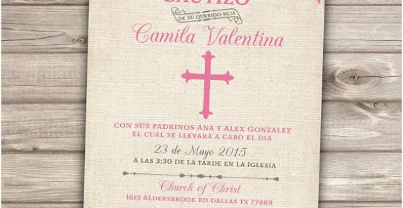 Baptism Invitations In Spanish Template Spanish Printable Baptism Christening Invitations Burlap