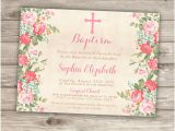 Baptism Invites Canada Baptism Invitations Floral Cross Pink Girl Simple Modern