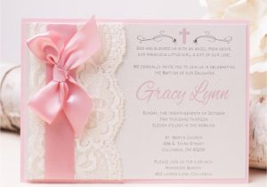 Baptism Invites Canada Off Gracy Lace Invitation Pink Baptism Invitation