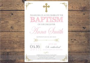 Baptism Invites Canada Pink and Gold Baptism Invitation Girl Baptism Invitation