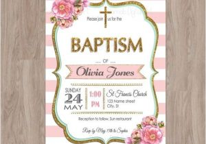 Baptism Invites Etsy Baptism Invitation Girl Baptism Invitation by Damabdigital