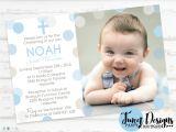 Baptismal Invitation for Boys Boy Christening Invitation Polka Dot Christening