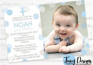 Baptismal Invitation for Boys Boy Christening Invitation Polka Dot Christening