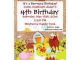 Barnyard Party Invitation Wording Barnyard Farm Animals Burlap Birthday Invitation