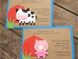 Barnyard Party Invitation Wording Barnyard Farm Party Invitations Cow Pig Barn Birthday