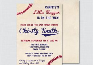 Baseball Invitations for Baby Shower Baseball Baby Shower Invitation Printable or Printed Vintage