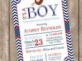 Baseball Invitations for Baby Shower Chevron Baseball Baby Shower Invitation Red Blue Baseball