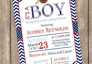 Baseball Invitations for Baby Shower Chevron Baseball Baby Shower Invitation Red Blue Baseball