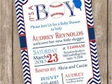 Baseball Invitations for Baby Shower Chevron It S A Boy Baseball Baby Shower Invitation Red