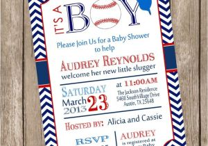 Baseball Invitations for Baby Shower Chevron It S A Boy Baseball Baby Shower Invitation Red