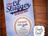 Baseball themed Baby Shower Invites Little Slugger Baseball theme Baby Shower Invitation
