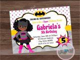 Batgirl Birthday Party Invitations Bat Girl Party Invitation African American Batgirl