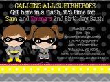 Batgirl Birthday Party Invitations Batman and Batgirl Birthday Invitations Twins Siblings