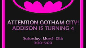 Batgirl Birthday Party Invitations Invitations Invitesbyme