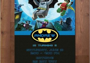 Batman and Robin Birthday Invitations Lego Batman and Robin Superhero Birthday Party Invitation