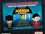 Batman Vs Superman Party Invitations Batman Vs Superman Birthday Invitation Card Superhero