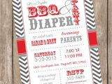 Bbq Baby Shower Invites Couples Bbq and Diaper Baby Shower Invitation Barbecue Red