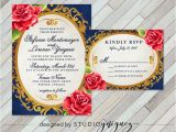 Beauty and the Beast Quinceanera Invitations Beauty and the Beast Fairy Tale Printable Wedding Invitation