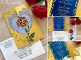 Beauty and the Beast Quinceanera Invitations Beauty and the Beast Inspired Rose Gate Invitation 15