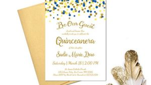 Beauty and the Beast Quinceanera Invitations Beauty and the Beast Quinceanera Invitation Blue Yellow Gold