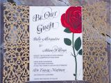Beauty and the Beast Quinceanera Invitations Red Rose Wedding Invitation Inspired by the Beauty and the