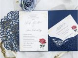 Beauty and the Beast Wedding Invites Beauty and the Beast Navy Blue Laser Cut Pocket Wedding