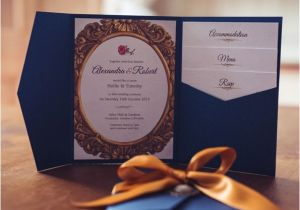 Beauty and the Beast Wedding Invites Beauty and the Beast themed Wedding Invitation Luxury