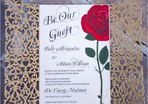 Beauty and the Beast Wedding Invites Red Rose Wedding Invitation Inspired by the Beauty and the