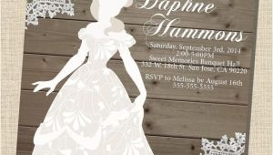 Belle Bridal Shower Invitations Rustic Wooden Vintage Disney Princess Belle Silhouette