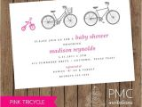 Bicycle Baby Shower Invitations Bicycle Tricycle Girl Baby Shower Birth Announcement