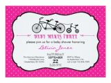 Bicycle Baby Shower Invitations Tandem Bicycle Girl Baby Shower Invitation
