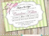 Big Hat Bridal Shower Invitations Pink and Green Garden Hat Party Bridal Shower Invitation