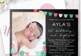 Birthday and Baptism Invitation Chalkboard Ballons and Bunting Girl Party Invitation