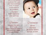 Birthday and Baptism Invitation First Birthday Invitation Wordings for Baby Boy Yourweek