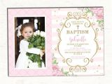 Birthday and Baptism Invitations Baptism Invitation Girl Pink and Gold Floral Christening
