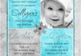 Birthday and Baptism Invitations Winter Birthday Baptism Invitation One Derland
