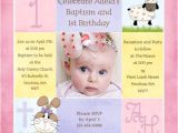 Birthday Baptism Invitation Wording 1st Birthday and Christening Baptism Invitation Sample
