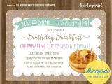 Birthday Breakfast Invitation Wording Birthday Breakfast Invitation with Waffles Burlap and