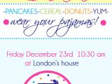 Birthday Breakfast Invitation Wording Birthday Breakfast Party Wear Your Pajamas