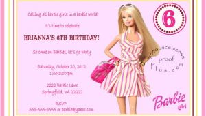 Birthday Invitation Barbie Template Items Similar to 5×7 Barbie Milestone Birthday Invitation