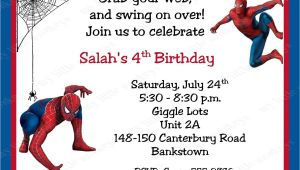 Birthday Invitation Card Spiderman theme Spiderman Birthday Invitations Personalized Free