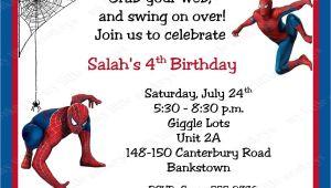 Birthday Invitation Card Spiderman theme Spiderman Birthday Invitations Personalized Free