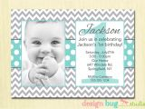 Birthday Invitation Cards for 1 Year Old Boy Boy S Chevrons and Polka Dots Birthday Invitation Gray