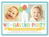 Birthday Invitation Cards for 1 Year Old Twins Bright Balloons 5×7 Invitation Twin Birthday Invitations