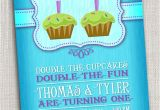 Birthday Invitation Cards for 1 Year Old Twins Twins First Birthday Party Invitation Cupcake Twins First