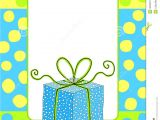 Birthday Invitation Frames Birthday Card Invitation with A Gift Box Stock