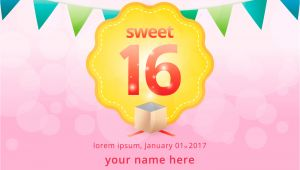 Birthday Invitation Graphics Template Sweet 16 Illustration Birthday Invitation Template